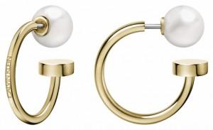 Calvin Klein Bubbly Champagne & Pearl Hoop Earrings