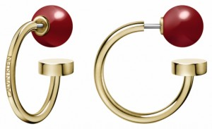 Calvin Klein Bubbly Champagne & Red Coral Hoop Earrings